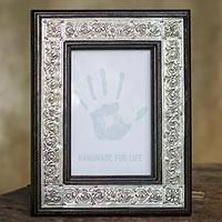 Nickel and wood picture frame, 'Serpentine' (4x6) - Serpentine Design Carved Wood Photo Frame