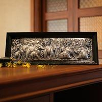 Aluminum repousse panel, 'Elephant Migration' - Aluminum repousse panel