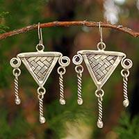 Silver chandelier earrings, 'Tribal Protection' - Silver chandelier earrings