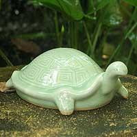Celadon ceramic statuette Lucky Turtle Thailand