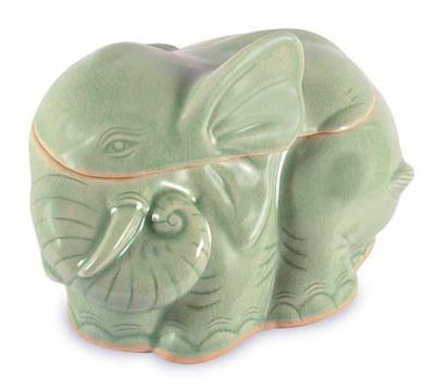 Celadon ceramic container