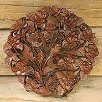 Teak relief panel, 'Rose Bouquet' - Hand Carved Teakwood Relief Panel