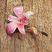 Natural orchid gold-plated stickpin, 'Eternal Orchid' - Unique Natural Flower Gold Plated Brooch Pin