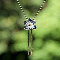 Natural orchid gold-plated flower necklace, 'Blue Blossom' - Hand Crafted Gold Plated Flower Necklace