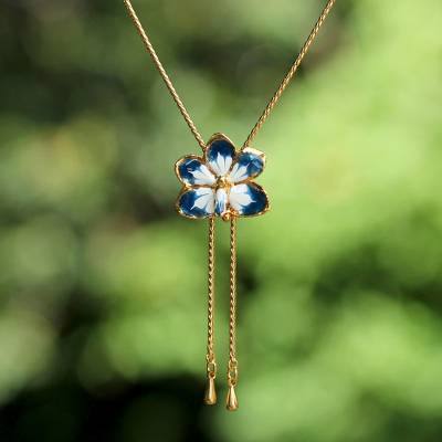 Natural orchid flower necklace, 'Blue Blossom' - Hand Crafted Flower Necklace