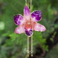 Natural orchid gold-plated flower necklace, 'Purple Perfection' - Gold Plated Natural Flower Necklace