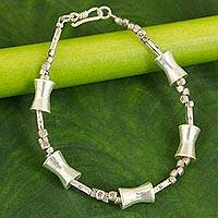 Silver beaded bracelet, 'Sterling Integrity' - Unique Hill Tribe Silver Bracelet