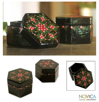 Lacquered boxes, 'Floral Octagons' (pair) - Handmade Lacquered Mango Wood Boxes (Pair)