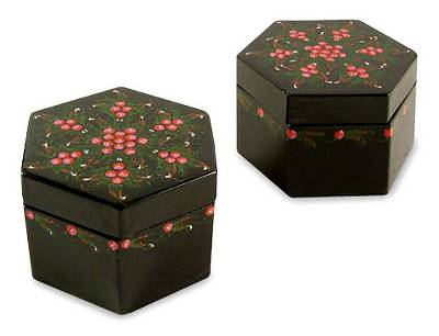 Handmade Lacquered Mango Wood Boxes (Pair)