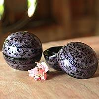 Lacquered boxes, 'Violets' (pair) - Floral Lacquered Mango Wood Boxes (Pair)