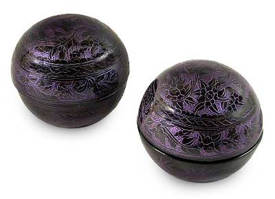 Floral Lacquered Mango Wood Boxes (Pair)