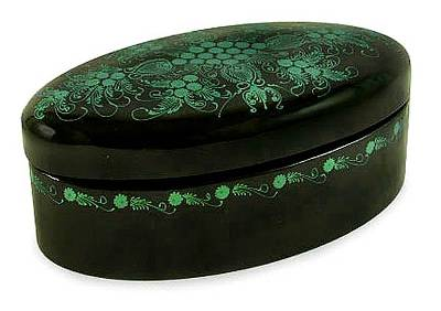 Lacquered box, 'Emerald Blossoms' - Hand Crafted Mango Wood Decorative Box