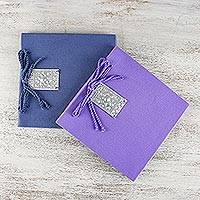 Saa paper notebooks, 'Amethyst Dreams' (pair) - Handmade Saa Paper Notebooks (Pair)