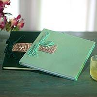 Saa paper notebooks, 'Emerald Dreams' (pair) - Green Saa Paper Notebooks (Pair)