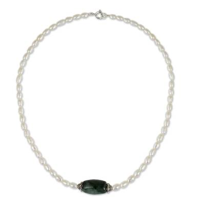 Artisan Crafted Pearl and Jade Necklace