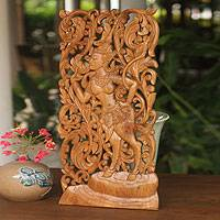 Teak relief panel Mythical Beauty Thailand