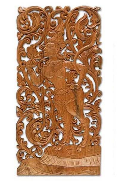Hand Carved Cultural Wood Relief Panel