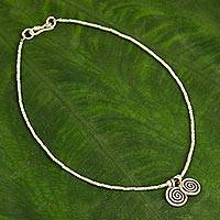 Silver anklet, 'Secret Circle' - Thai Hill Tribe Silver Anklet