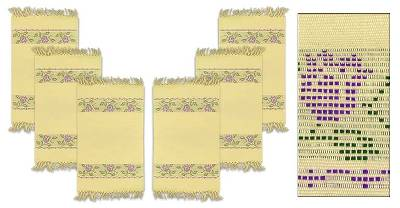 Cotton placemats, 'Violets' (set of 6) - Cotton placemats (Set of 6)