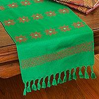 Cotton table runner, 'Poinsettia Stars' - Floral Cotton Table Runner