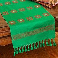 Cotton table runner, 'Poinsettia Stars'
