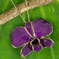 Natural orchid brooch pin necklace, 'Violet Dawn' (Thailand)