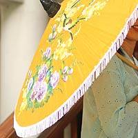 Parasol, 'Freedom Birds' - Unique Yellow Floral Rayon and Bamboo Parasol