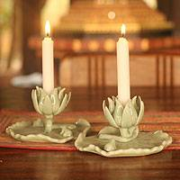 Celadon ceramic candleholders, 'Lily Pads' (pair) - Celadon ceramic candleholders (Pair)