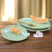 Celadon ceramic plates, 'Green Elephants' (set of 3) - Handmade Celadon Ceramic Plates (Set of 3)