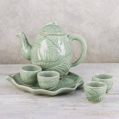 Celadon ceramic tea set, Peaceful Islands (set for 4)