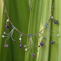 Amethyst waterfall necklace, 'Jungle Dancer'  - Hand Crafted Amethyst Necklace