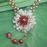 Citrine and carnelian flower necklace, 'Spider Mum' - Citrine and carnelian flower necklace