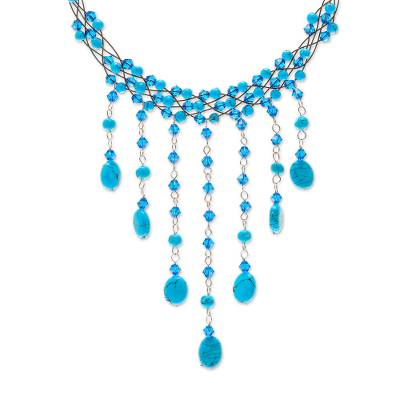 Handcrafted Turquoise Colored Waterfall Necklace