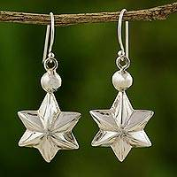 Sterling silver dangle earrings, 'Starlight' - Sterling silver dangle earrings