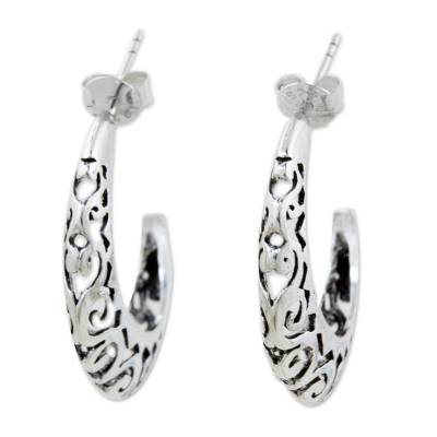Fair Trade Sterling Silver Half Hoop Earrings