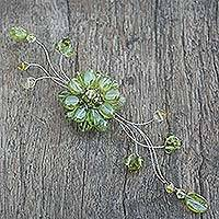 Peridot and crystal brooch pin, 'Lime Bouquet' - Peridot and crystal brooch pin