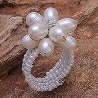 Pearl and crystal ring, 'Ice Flower' - Pearl and crystal ring