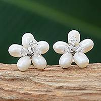 Pearl button earrings, 'Ice Flower' - Fair Trade Bridal Pearl Button Earrings