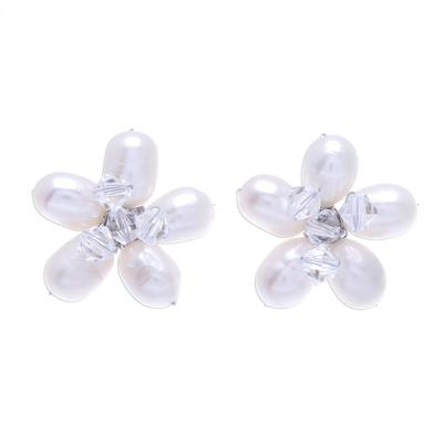 Fair Trade Bridal Pearl Button Earrings