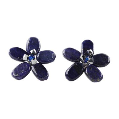 Floral Lapis Lazuli Button Earrings