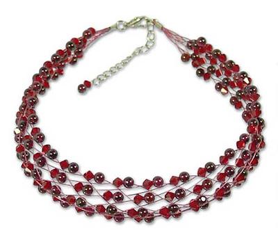 Handcrafted Garnet and Crystal Multi Strand Adjustable Choker Necklace