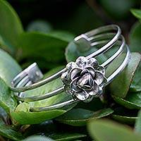 Sterling silver cuff bracelet, 'Silver Rose' (Thailand)