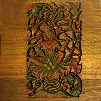 Teak relief panel, 'Forest Angel' - Hand Carved Teak Relief Panel