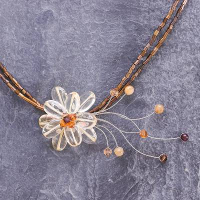 Citrine flower necklace, 'Honey Flower' - Handcrafted Floral Beaded Citrine Necklace from Thailand
