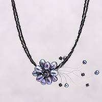 Pearl floral choker, 'Night Bouquet' - Artisan Crafted Pearl Floral Choker