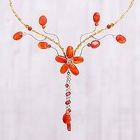 Carnelian and crystal choker, 'Floral Tears'  - Hand Made floral Carnelian Necklace