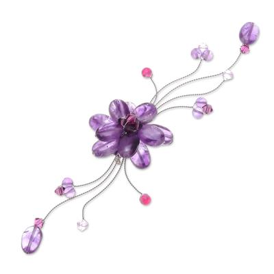 Floral Amethyst Brooch Pin