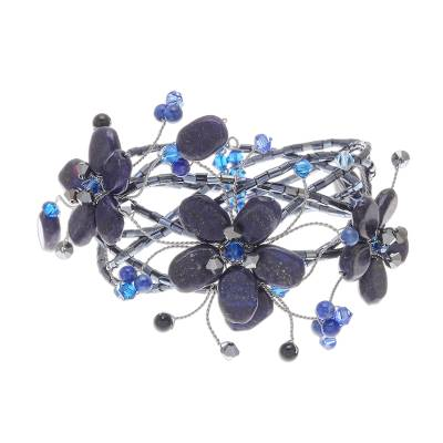 Hand Crafted Floral Beaded Lapis Lazuli Bracelet