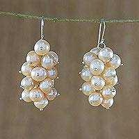 Pearl cluster earrings, 'River Grapes' - Peach Pearl and Silver Cluster Earrings