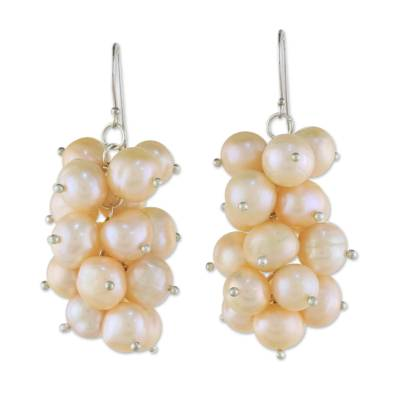 Peach Pearl and Silver Cluster Earrings